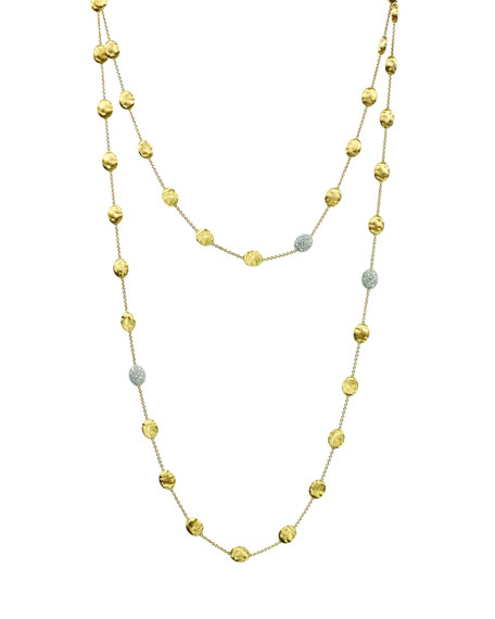 Pave Diamond Bead Station Necklace, 49.5""