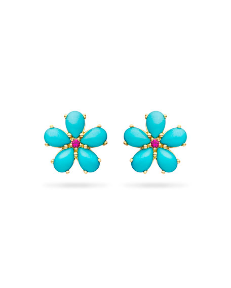 Paul Morelli Small Turquoise Petal Button Earrings with Rubies JZUbKGuE1