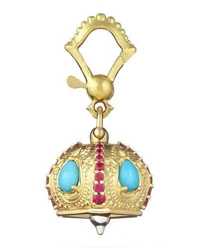 Raja Turquoise & Ruby Meditation Bell Pendant, 11mm