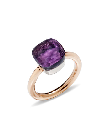 Nudo Rose & White Gold Amethyst Ring, Size 53