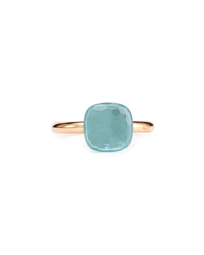 Nudo Rose Gold & Blue Topaz Ring, Size 6.75