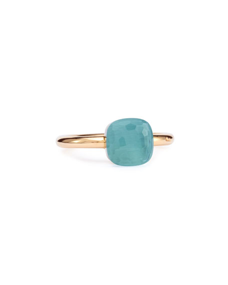 Nudo Rose Gold & Blue Topaz Ring, Mini, Size 54