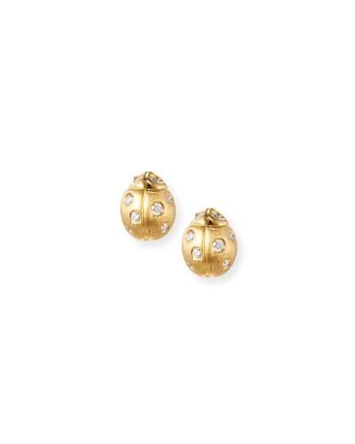 Wonderland Ladybug Diamond Earrings