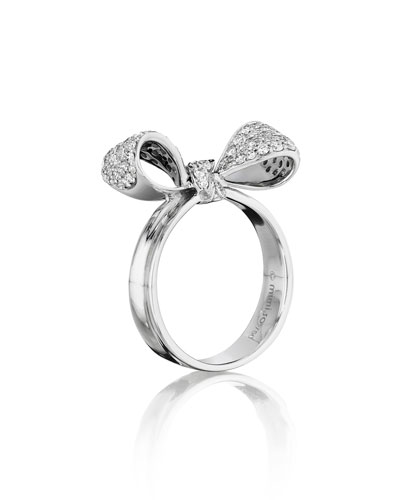 18K White Gold Pavé Diamond Bow Ring, Size 6