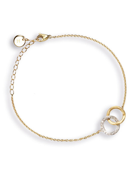 Delicati 18K Round Link Bracelet with Diamonds