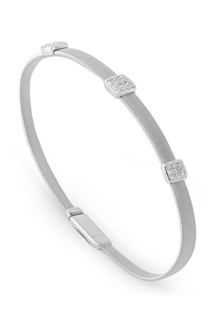 Marco Bicego Masai 18K White Gold Bracelet with Three Diamond Stations