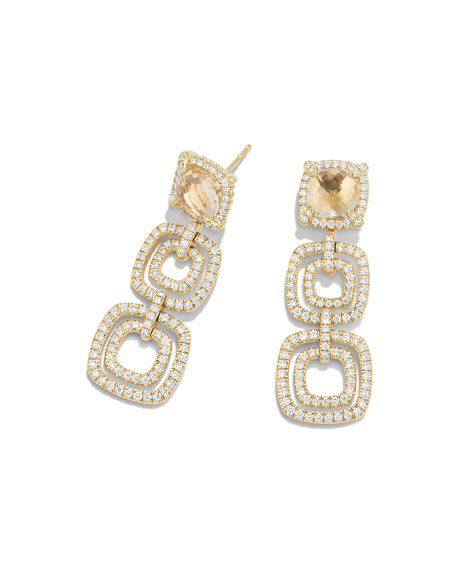 Châtelaine Triple-Drop Champagne Citrine Earrings with Diamonds