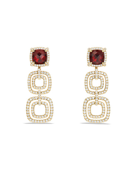 DAVID YURMAN Châtelaine Triple-Drop Garnet Earrings with