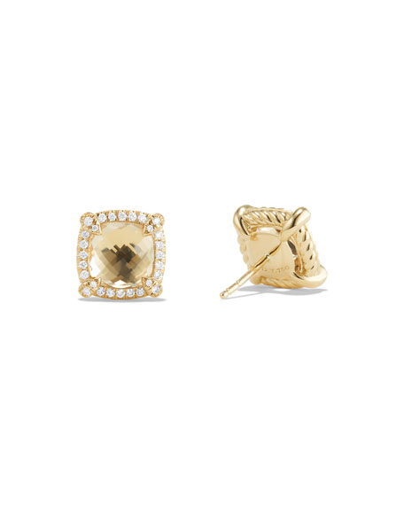 Châtelaine 8mm Champagne Citrine & Diamond Earrings