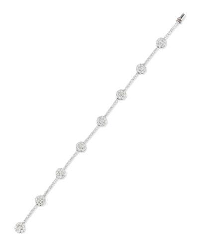 18K White Gold Floral Filigree Bracelet with Diamonds
