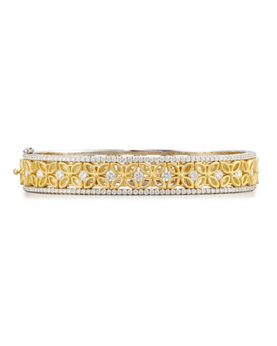18K White & Yellow Gold Floral Filigree Bracelet with Diamonds
