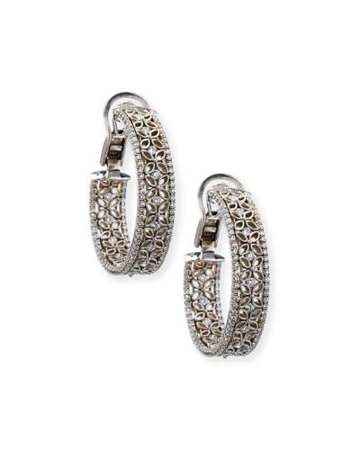 18K White Gold Filigree Hoop Earrings with Diamonds