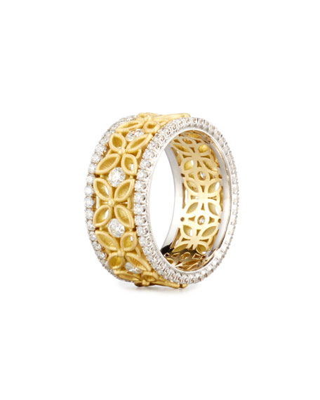 18K White & Yellow Gold Floral Filigree Ring with Diamonds, 1.42 TDW, Size 7