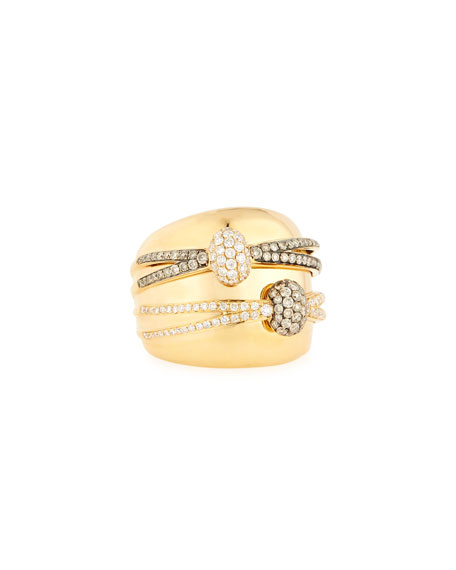 18K Yellow Gold Ring with White & Champagne Diamond Wraps