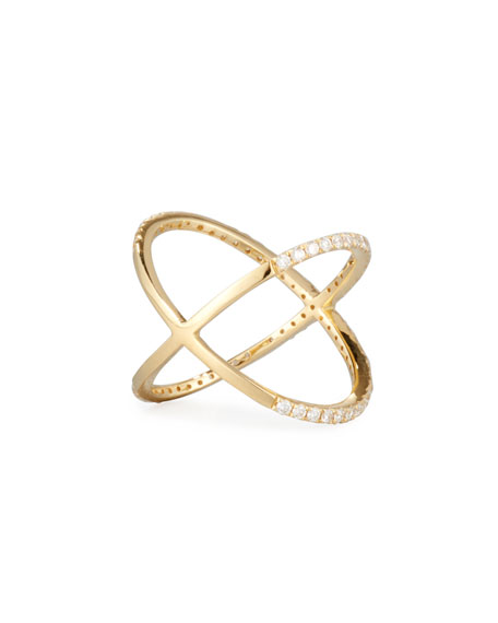 18K Yellow Gold Crisscross Ring with Diamonds