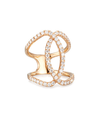 BESSA 18K Rose Gold Overlapping Ring With Diamonds