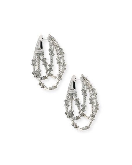 Looped 18K White Gold & Diamond X Hoop Earrings