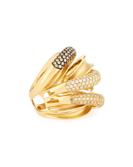 18K Yellow Gold Multi-Row Ring with Champagne and White Diamonds