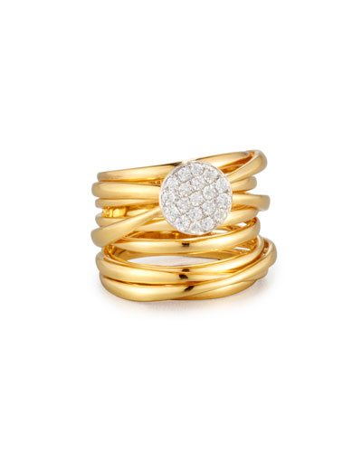 18K Gold Multi-Row Ring with Diamond Disc, Size 6.5
