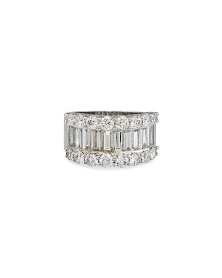 Bessa 18K White Gold Round & Baguette Diamond