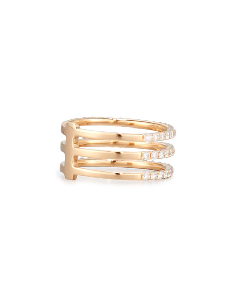 18K Rose Gold Three-Row Ring with Diamonds, Size 7