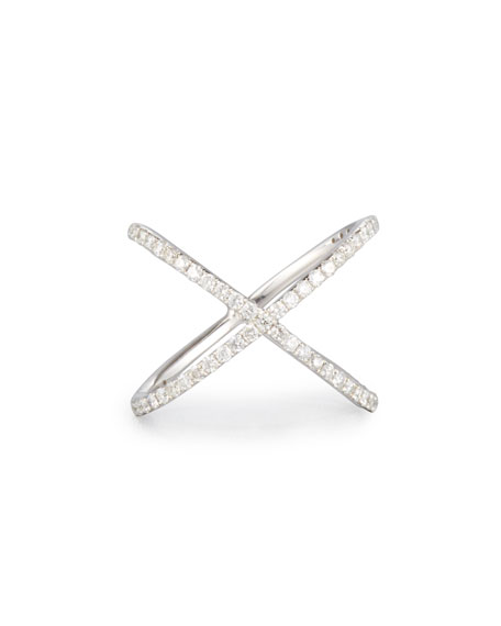 18K White Gold Crisscross Ring with Diamonds