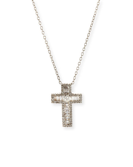 18K White Gold Baguette Diamond Cross Pendant Necklace
