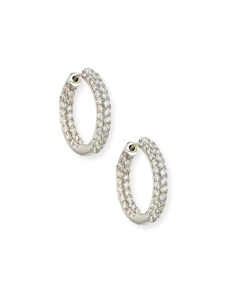 18K White Gold Infinity Diamond Hoop Earrings