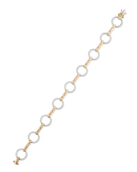 18K White & Rose Gold Bracelet with Diamond Circles