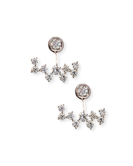 18K White Gold Diamond Jacket Earrings