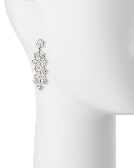 Dangling 18K White Gold Three-Strand Diamond Earrings
