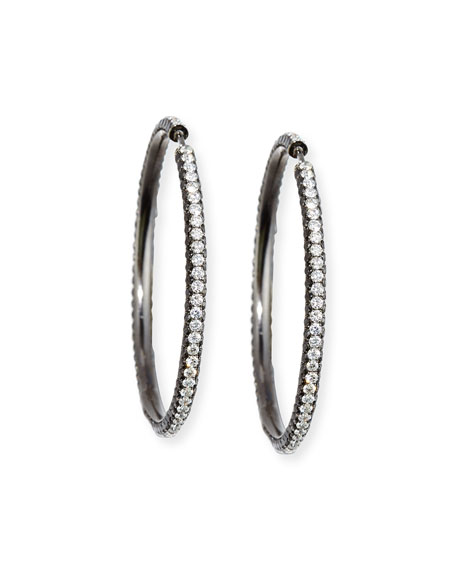 Bessa Blackened Rhodium Hoop Earrings with Black &