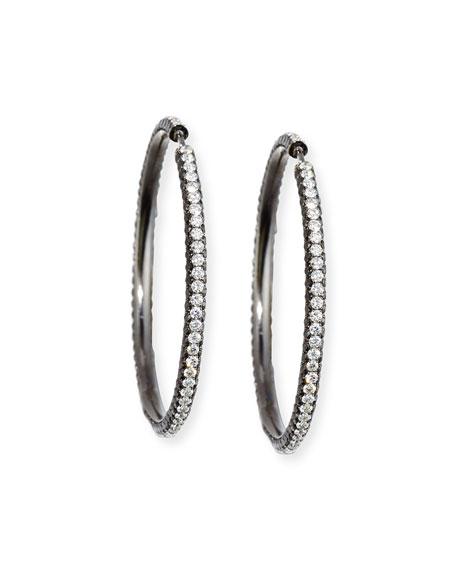 Blackened Rhodium Hoop Earrings with Black & White Diamonds