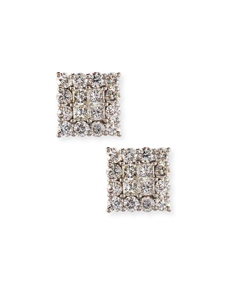 18K White Gold Square Diamond Cluster Earrings