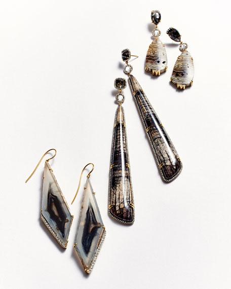 18k Fossilized Oak & Diamond Drop Earrings