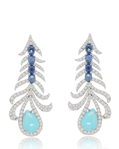 18K White Gold Feather Earrings with Turquoise, Sapphires & Diamonds