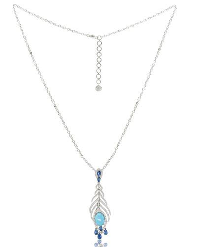 Turquoise & Diamond Feather Pendant Necklace