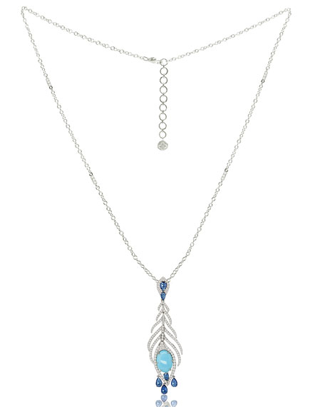 Turquoise & Diamond Feather Pendant Necklace