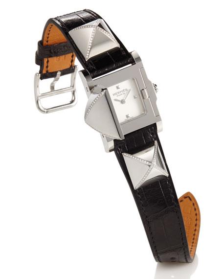 Hermès Médor Stainless Steel Watch with Diamonds