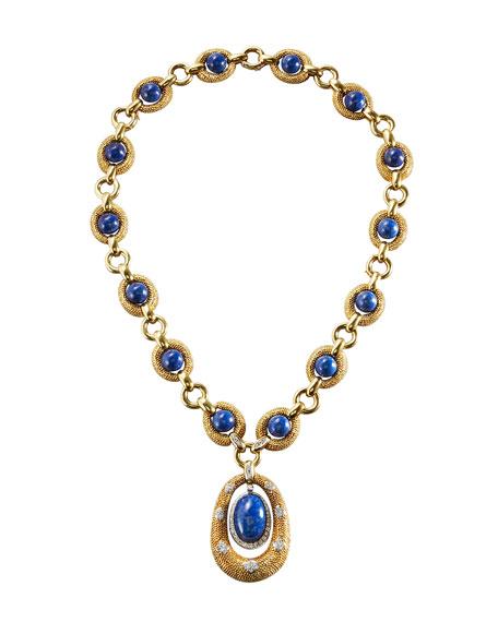 18K Yellow Gold & Lapis Sautoir Necklace with Diamonds