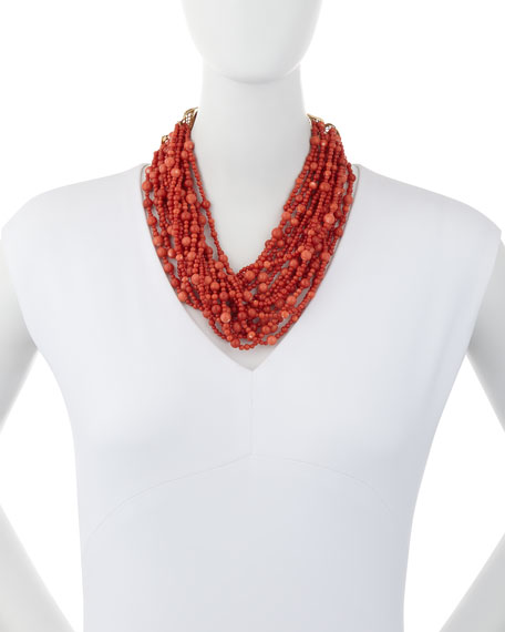 Multi-Strand Coral Necklace with Diamonds