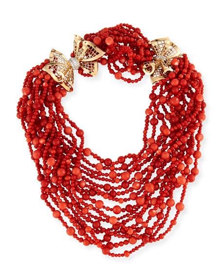 NM Estate Multi-Strand Coral Necklace with Diamonds