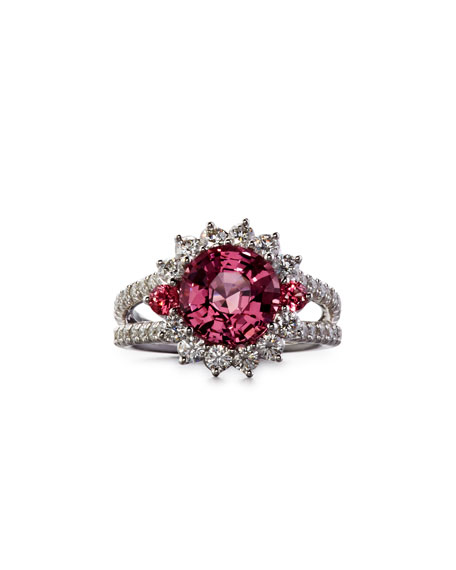 Burma Pink Spinel Ring with Diamonds