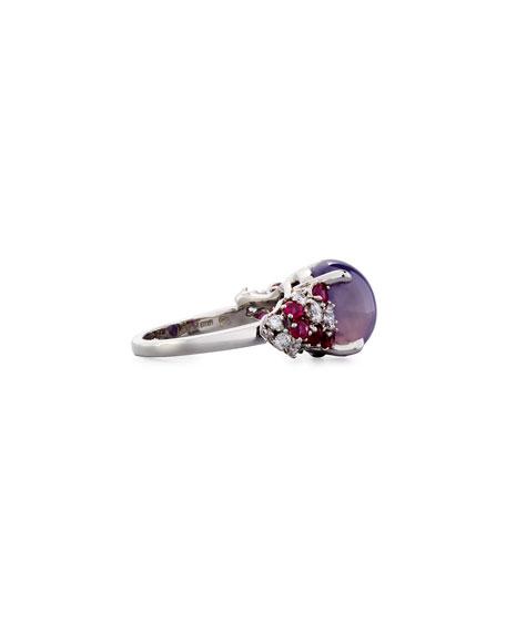 Sapphire & Platinum Ring with Diamonds
