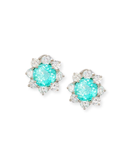 Paraiba Tourmaline & Diamond Button Earrings