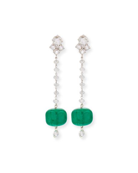 18K White Gold Emerald & Diamond Drop Earrings
