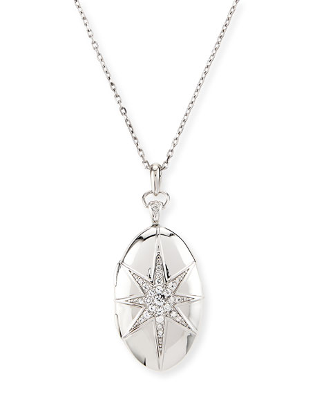 Monica Rich Kosann White Sapphire Star Locket Necklace