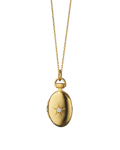 "18k Gold Petite Oval Locket Necklace with Diamond Star, 17""L"