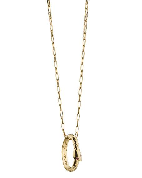 """18K Gold """"Never Fear"""" Snake Poesy Pendant Necklace"""