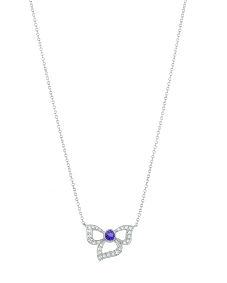 18K Florette Tanzanite & Diamond Pendant Necklace